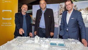von links: Architekt Diplomingenieur Peter Sapp, Rektor Meinhard Lukas, BIG-CEO Hans-Peter Weiss
