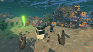 player's view into an underwater world facing the industrial robot, surrounded by a coral reef, fishes and a waste