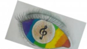 Musik malen Grafik - Auge mit Notenschlüssel als Pupille
