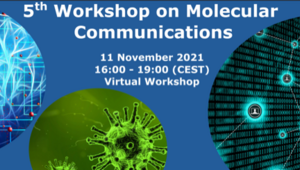 Banner with text: 5th workshop on molecular communications, November 11th, 2021, 16:00-19:00 (CEST), Virtual Workshop