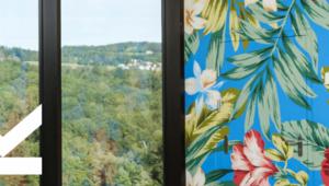 Blick durch ein Fenster der JKU mit Wald, daneben große bunte exotische Blumen auf einer Wand