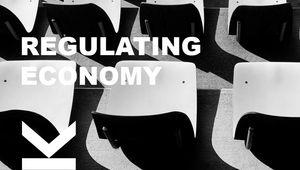graue Sessel in einer Reihe - Titelbild zum Event Regulating Economy