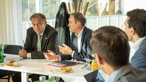 Rektor Lukas und Finanzminister Müller.