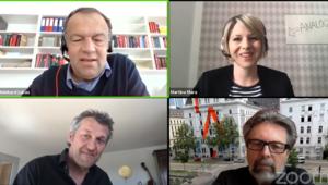 Screenshot der Videokonferenz zwischen Bast, Mara, Poschner und Lukas.