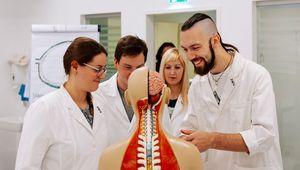 JKU Medizinstudierende lernen am medizinischen Skelett