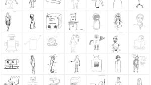 35 sehr verschiedene Zeichnungen von Robotern, von menschengleich bis zu mechanischen Kästen